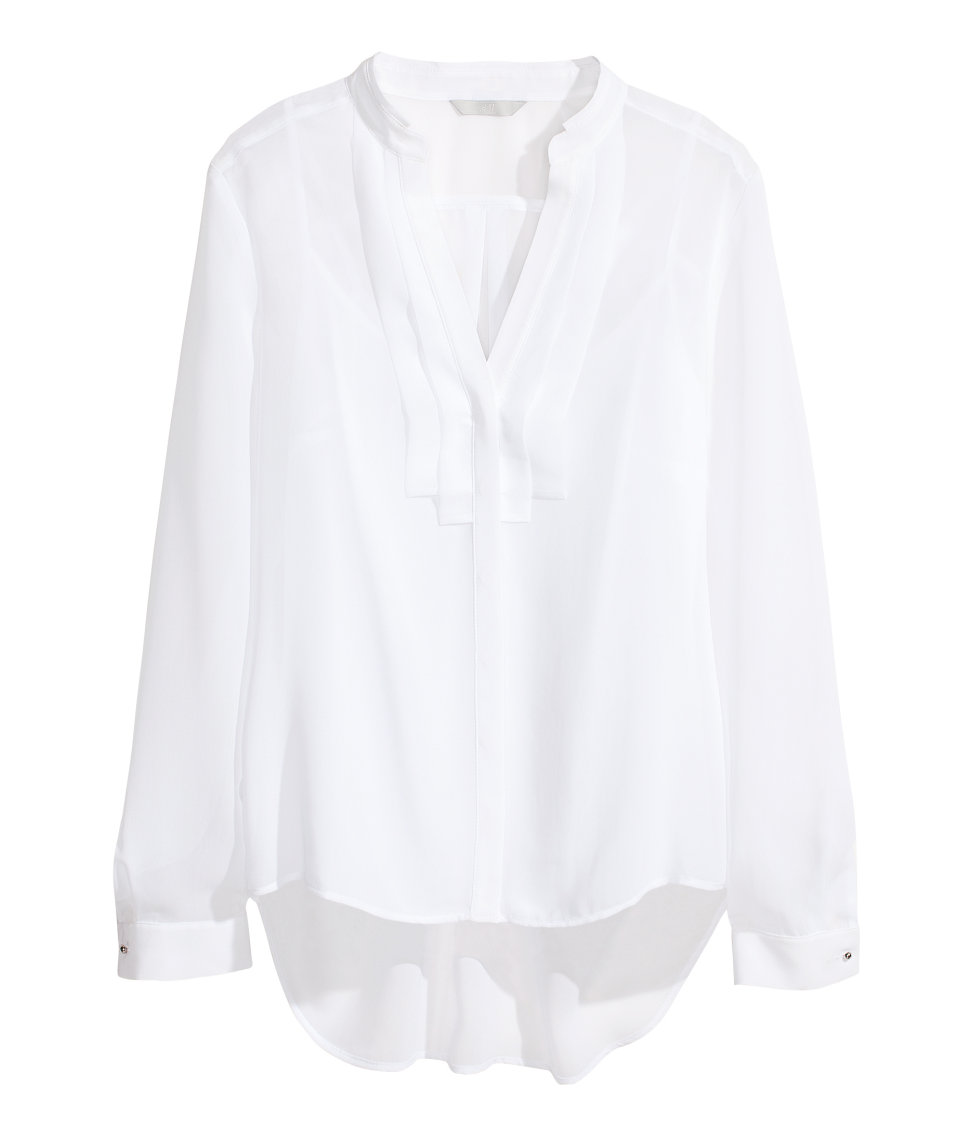 H&m Chiffon Blouse in White | Lyst