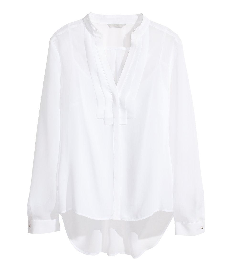 H&m Chiffon Blouse in White | Lyst