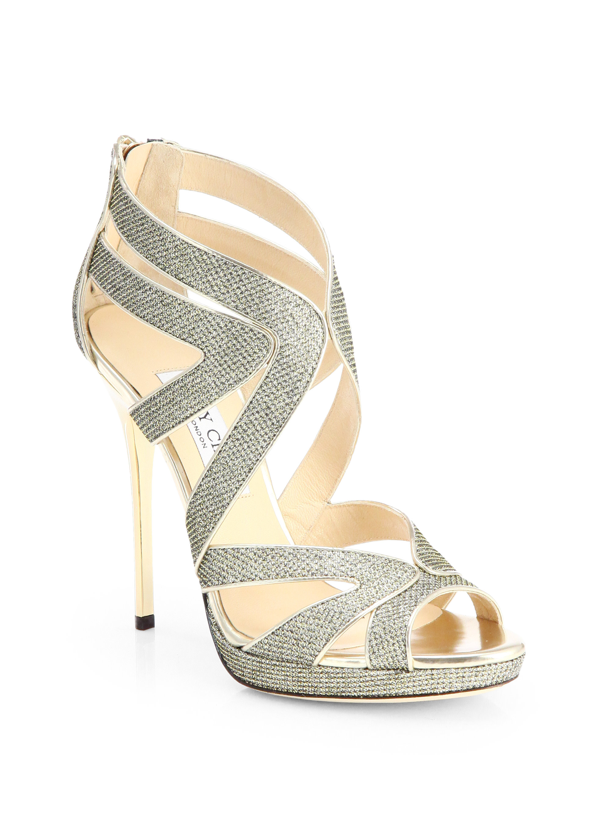 284efce18555 ... best price lyst jimmy choo collar glitter lame platform sandals in  metallic 87bb5 981ad