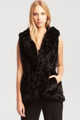 Kenneth Cole Anissa Black Faux Fur Vest - Lyst