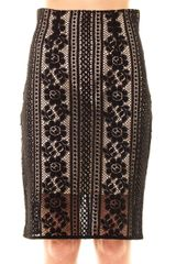 Lover Valentine Lace Pencil Skirt - Lyst