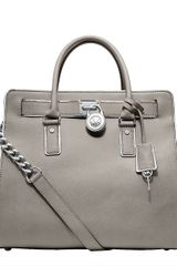 Michael By Michael Kors Hamilton Specchio Leather Large Northsouth Tote Bag in Gray (pearl) - Lyst