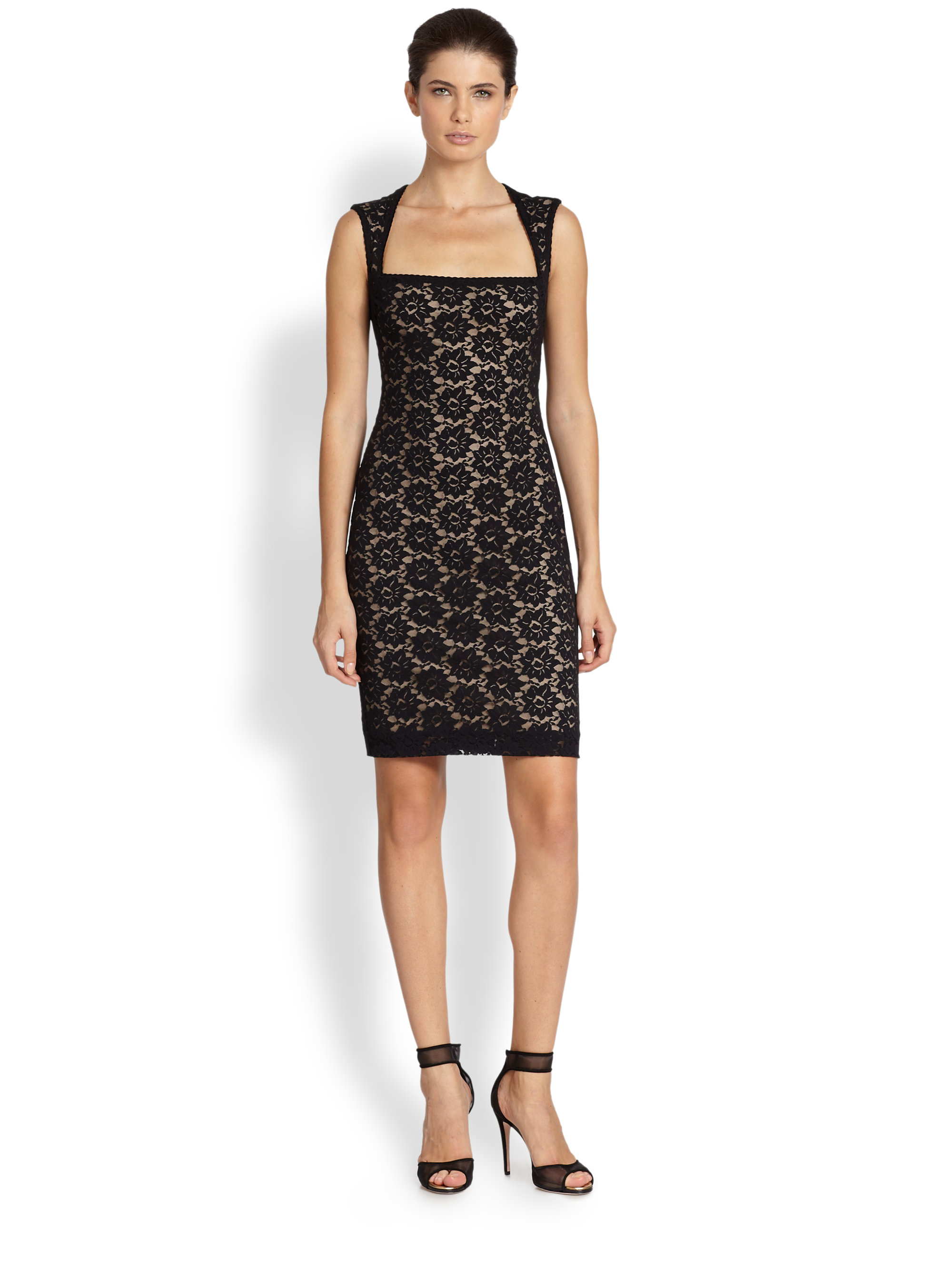 Nicole miller Felicity Floral Lace Cocktail Dress in Black | Lyst