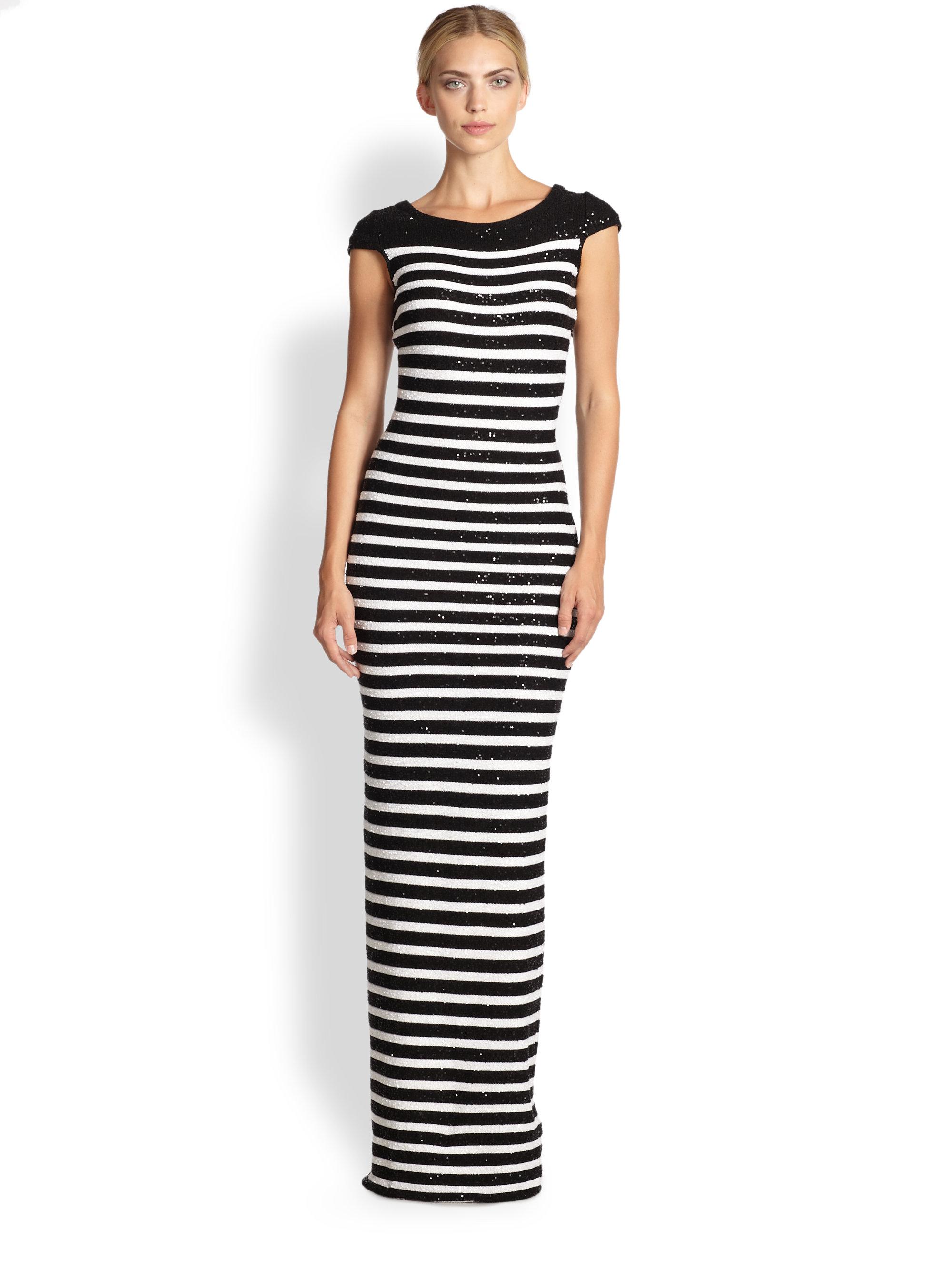 Lyst - Oscar De La Renta Sequin Stripe Knit Gown in Black