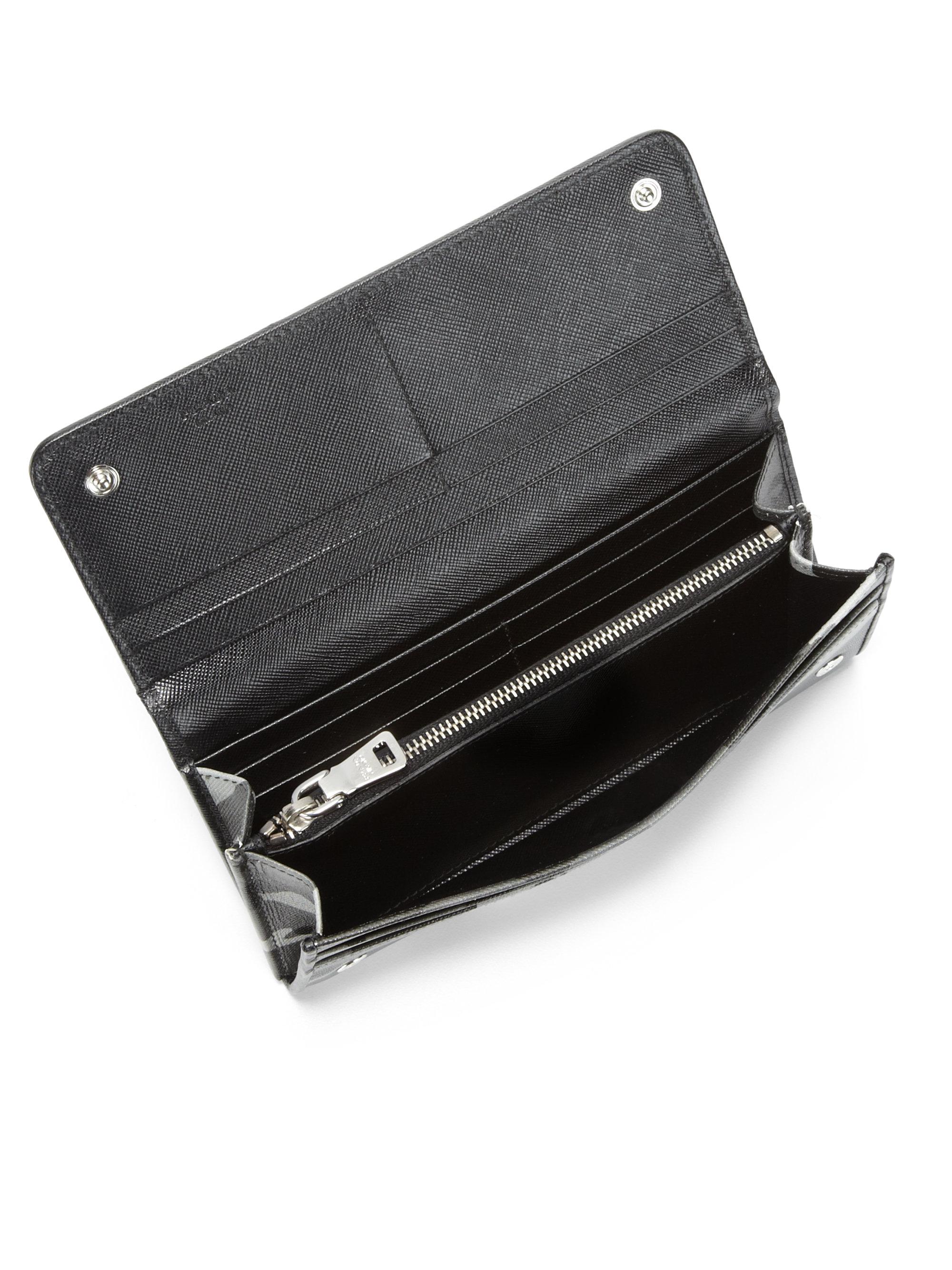 ab50ab9b662c24 Prada Saffiano Continental Wallet in Gray - Lyst