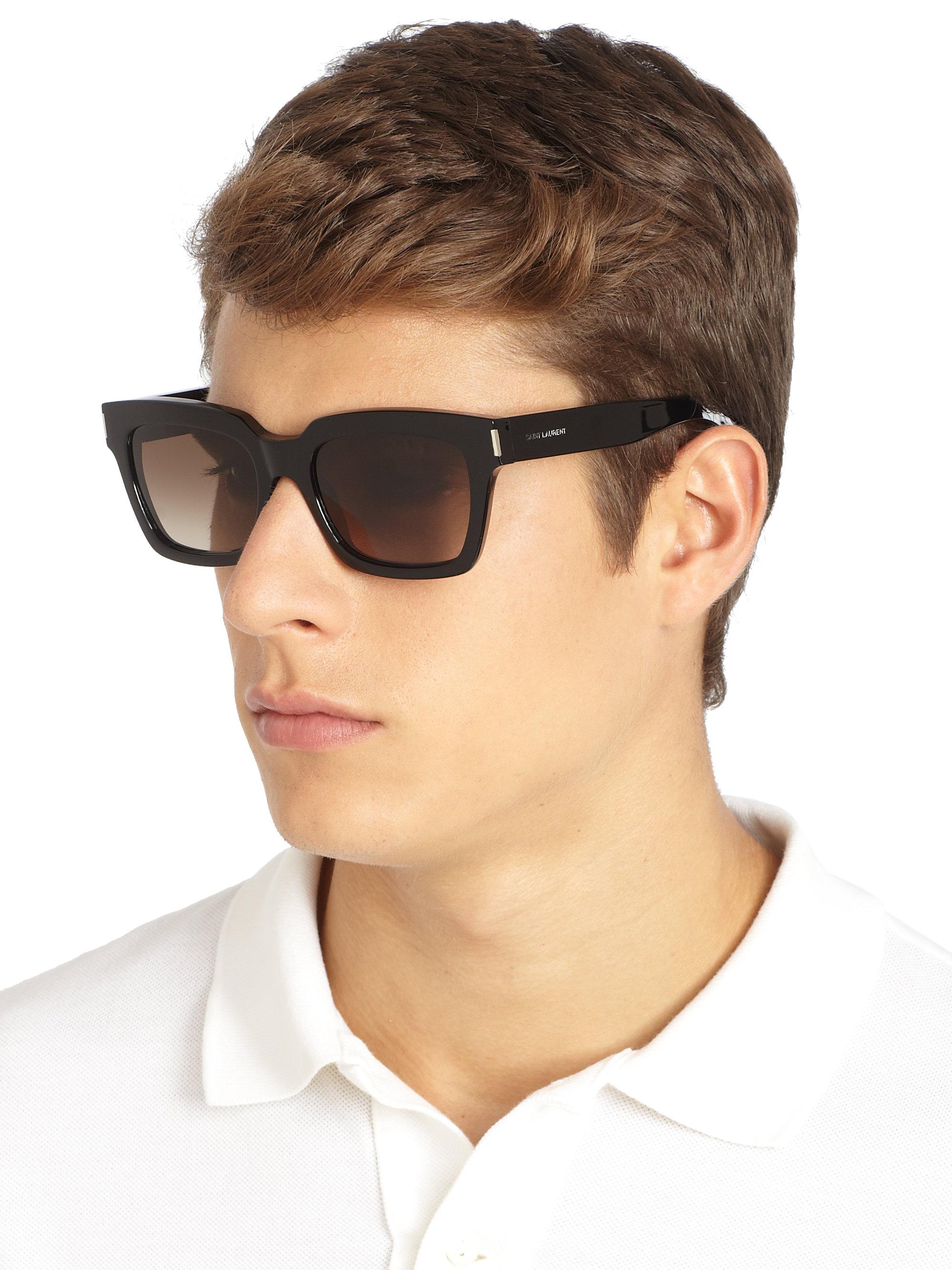 saint laurent thick square acetate sunglasses in black for