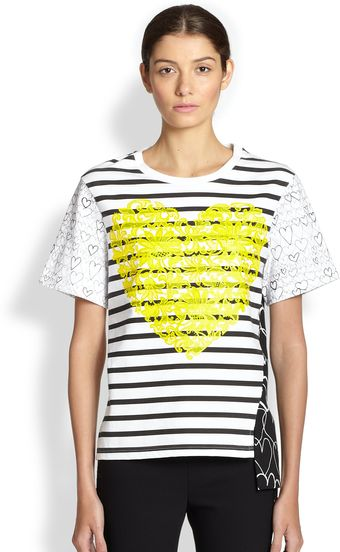 Stella McCartney Heartdetail Striped Tee - Lyst