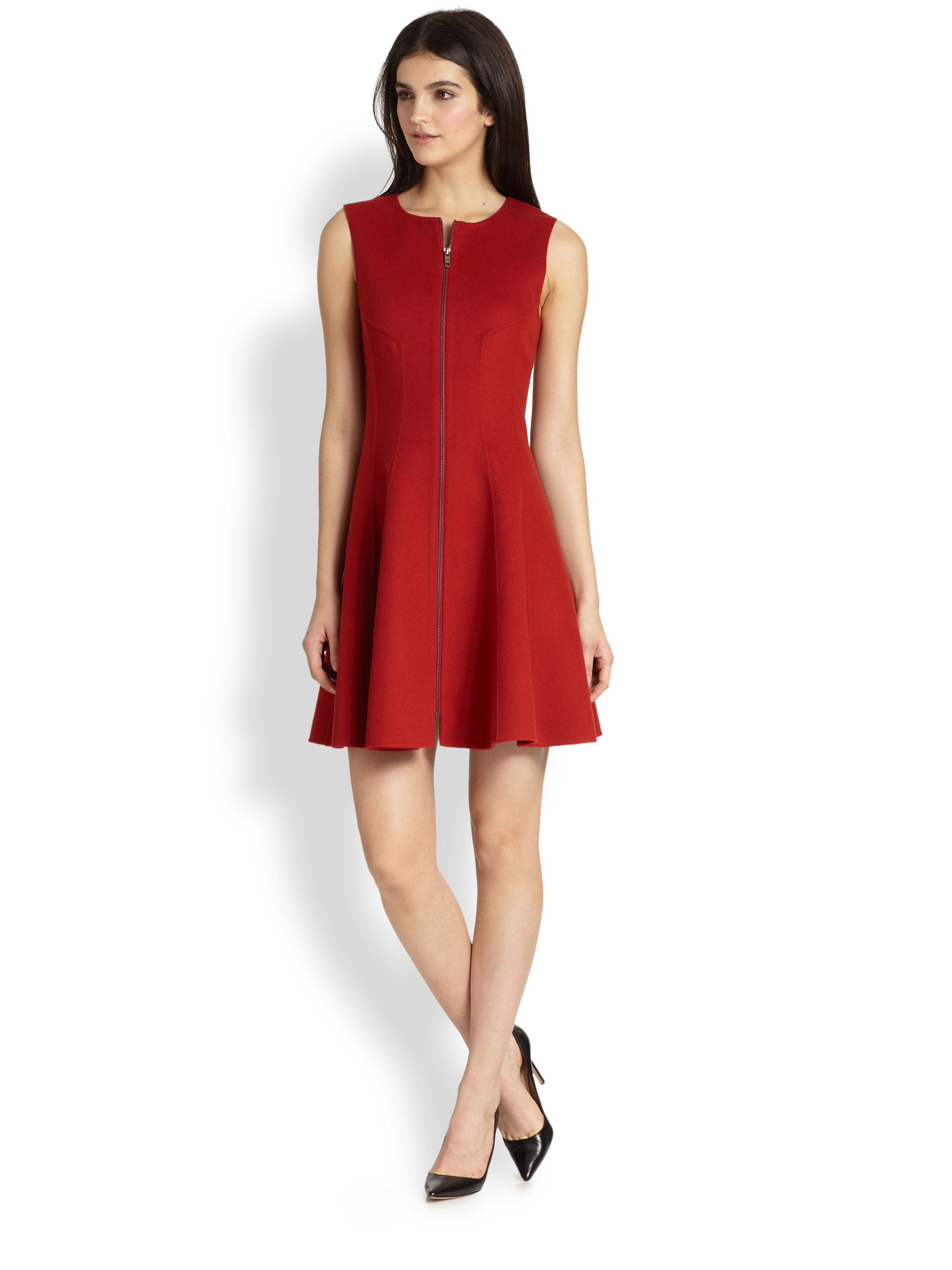 Theory Bonbi Folio Zip Front Knit Dress in Red | Lyst