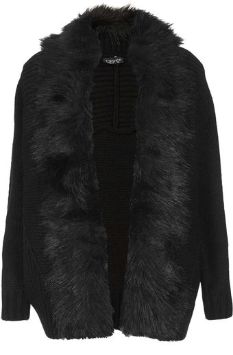 Topshop Knitted Fur Trim Coatigan - Lyst