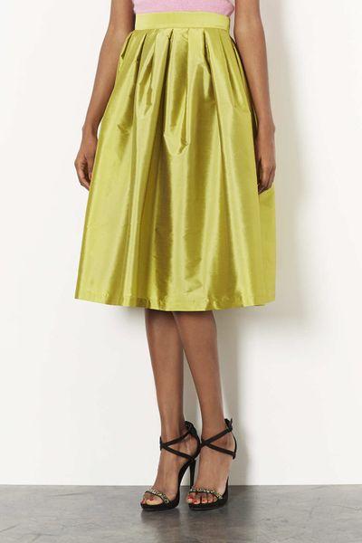 topshop taffeta midi skirt in yellow chartreuse lyst