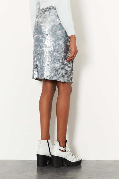 topshop silver sequin pencil skirt in silver lyst