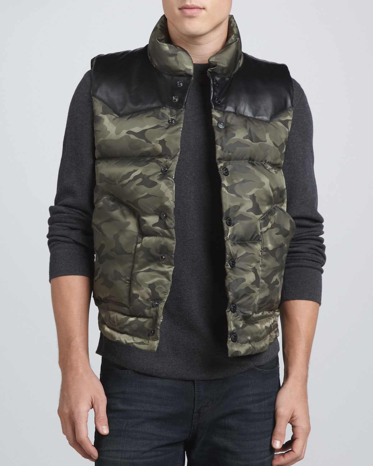 Lyst True Religion Nylon Puffer Vest Army Camo In Green
