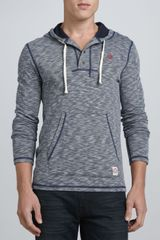 True Religion Hooded Henley with Pickstitched Detail Navy - Lyst