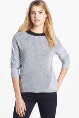 Two By Vince Camuto Falling Pointelle Front Cotton Blend Sweater - Lyst