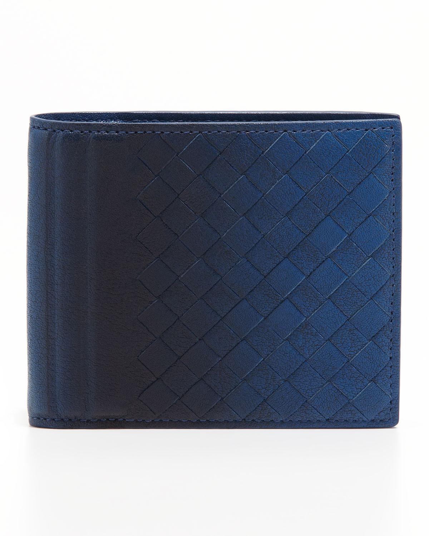 74cebf7fd287 Bottega Veneta Ombre Woven Leather Wallet Blue in Blue for Men - Lyst