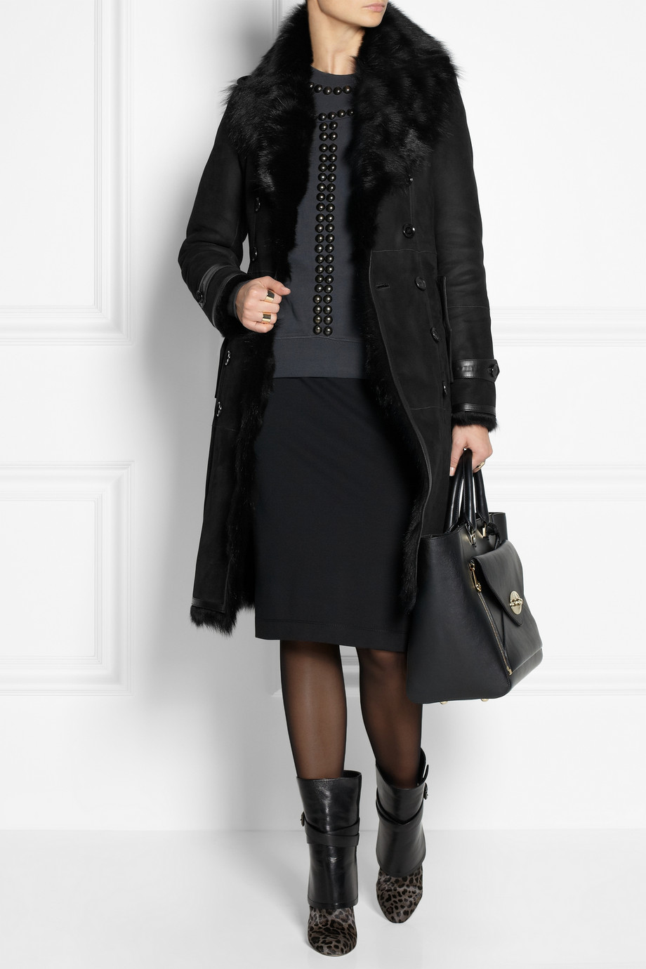 Burberry Belted Shearling Coat in Black | Lyst