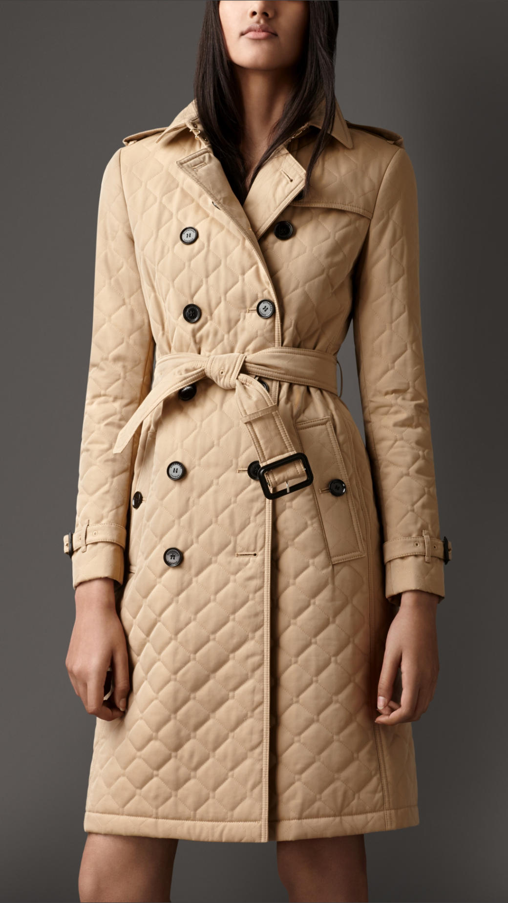 Burberry Long Quilted Gabardine Trench Coat In Natural Lyst