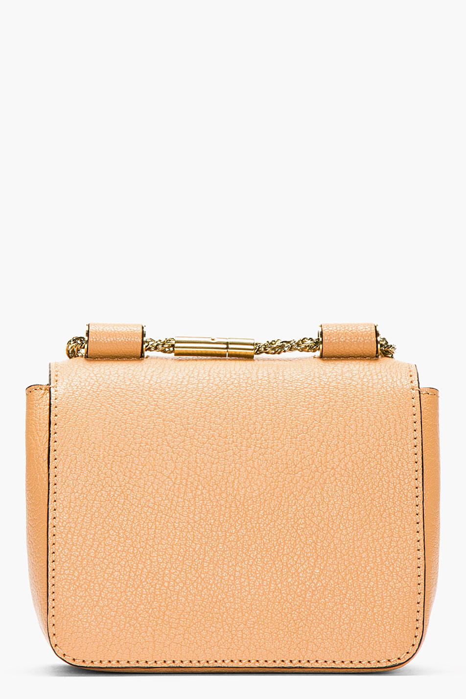 Chlo¨¦ Beige Grained Leather Mini Elsie Bag in Pink (beige) | Lyst