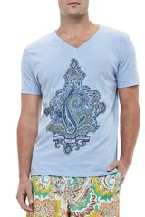 Etro Paisley Graphic Tee Light Blue - Lyst