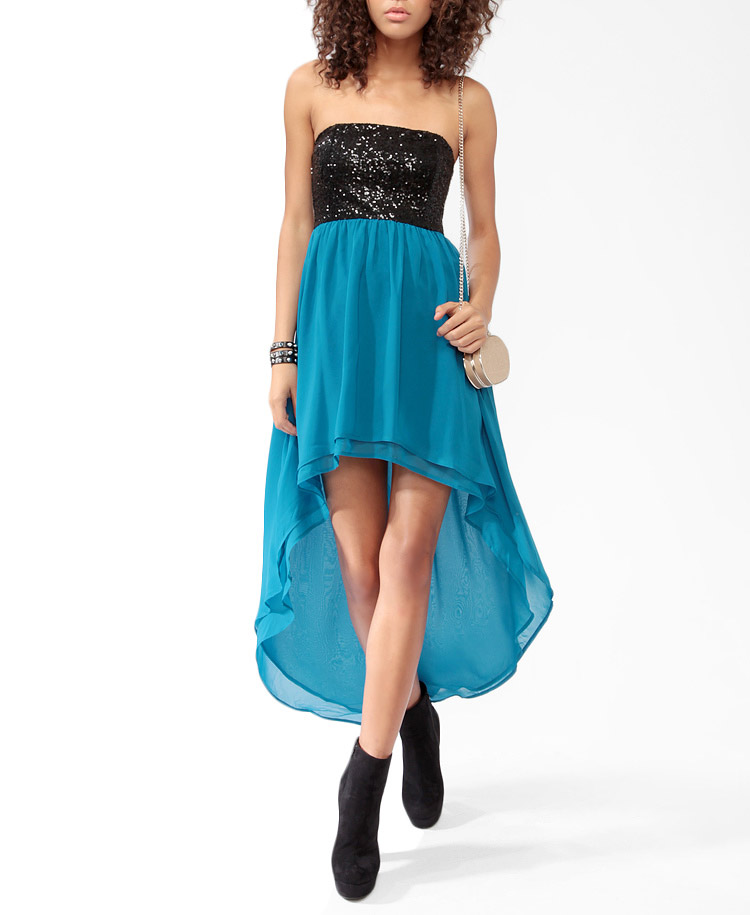 forever 21 highlow sequined dress in blue lyst