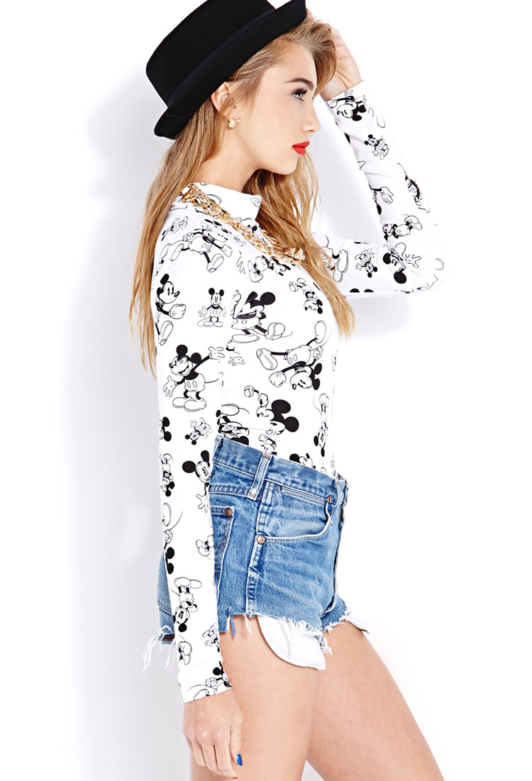 21 Mickey Mouse Nail Art Designs Ideas: Forever 21 Standout Mickey Bodysuit In Black