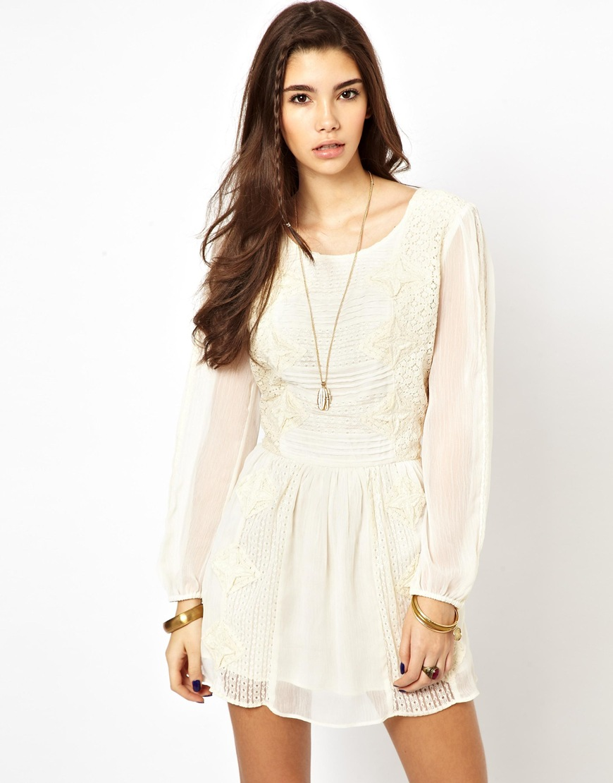 a6a5245ec6a96 Lyst - Free People Crinkle Leigh Dress in Lace in White