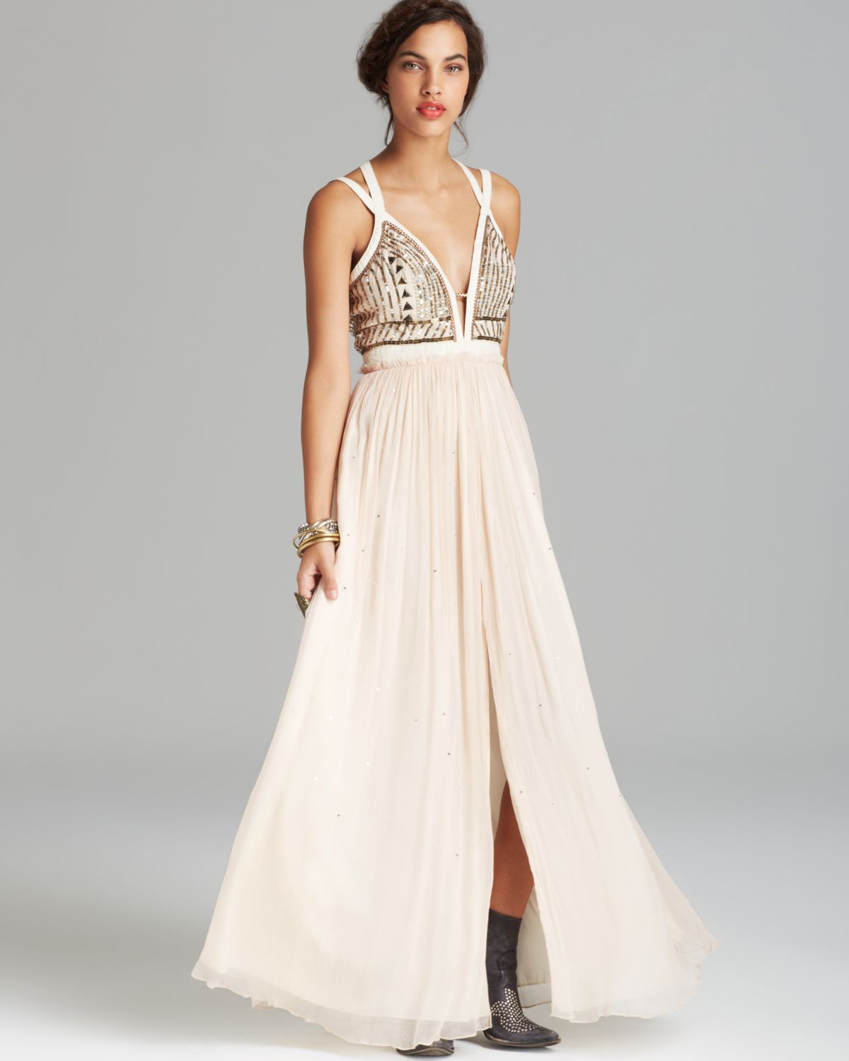 7cd4a958f Free People Maxi Dress Golden Chalice in Metallic - Lyst