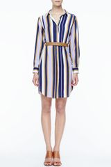 Halston Heritage Striped Belted Fuji Silk Shirtdress - Lyst