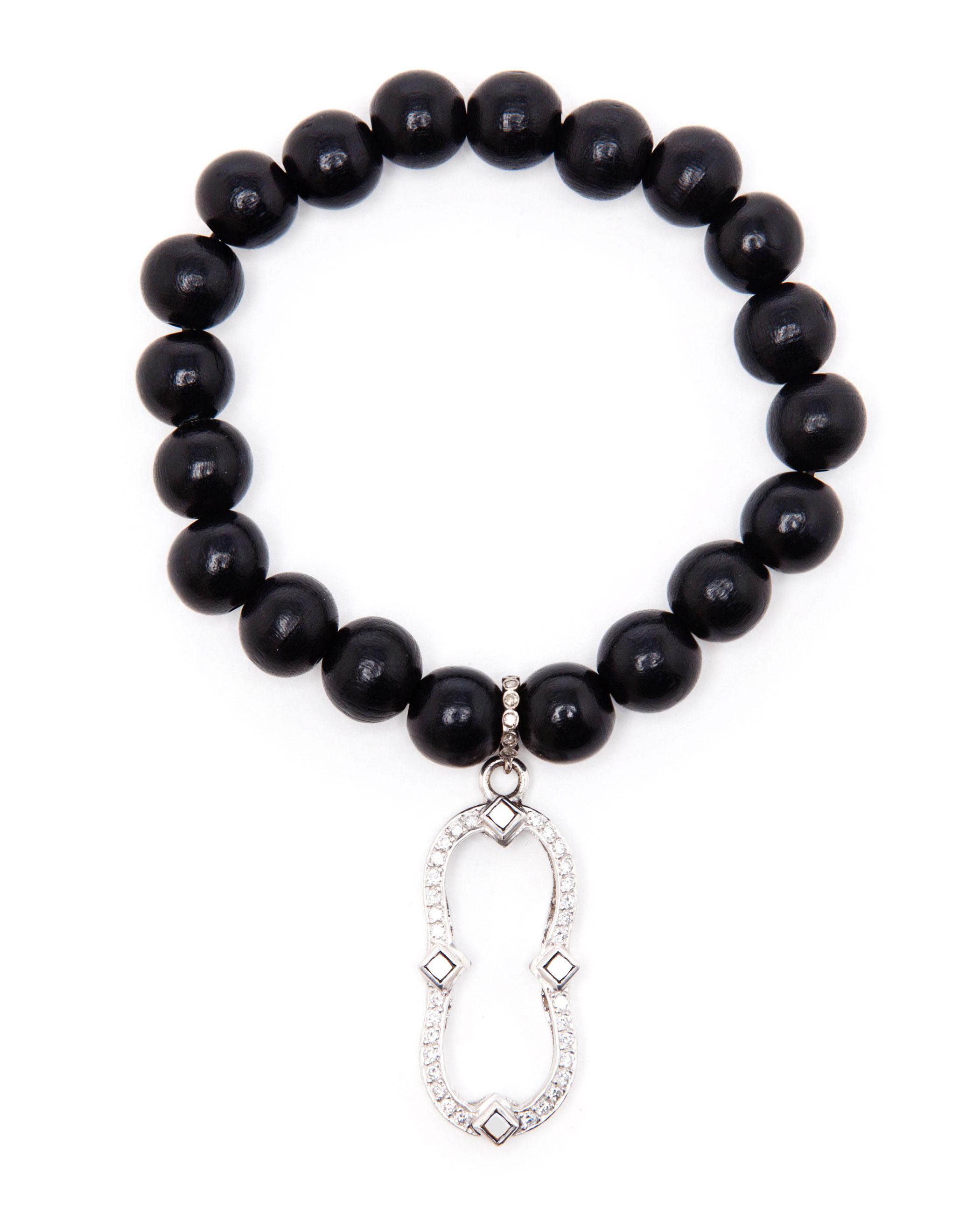 loree rodkin wooden bead bracelet with charm in