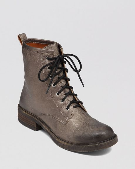 Lucky Brand Lace Up Combat Boots Novembere In Gray Silver