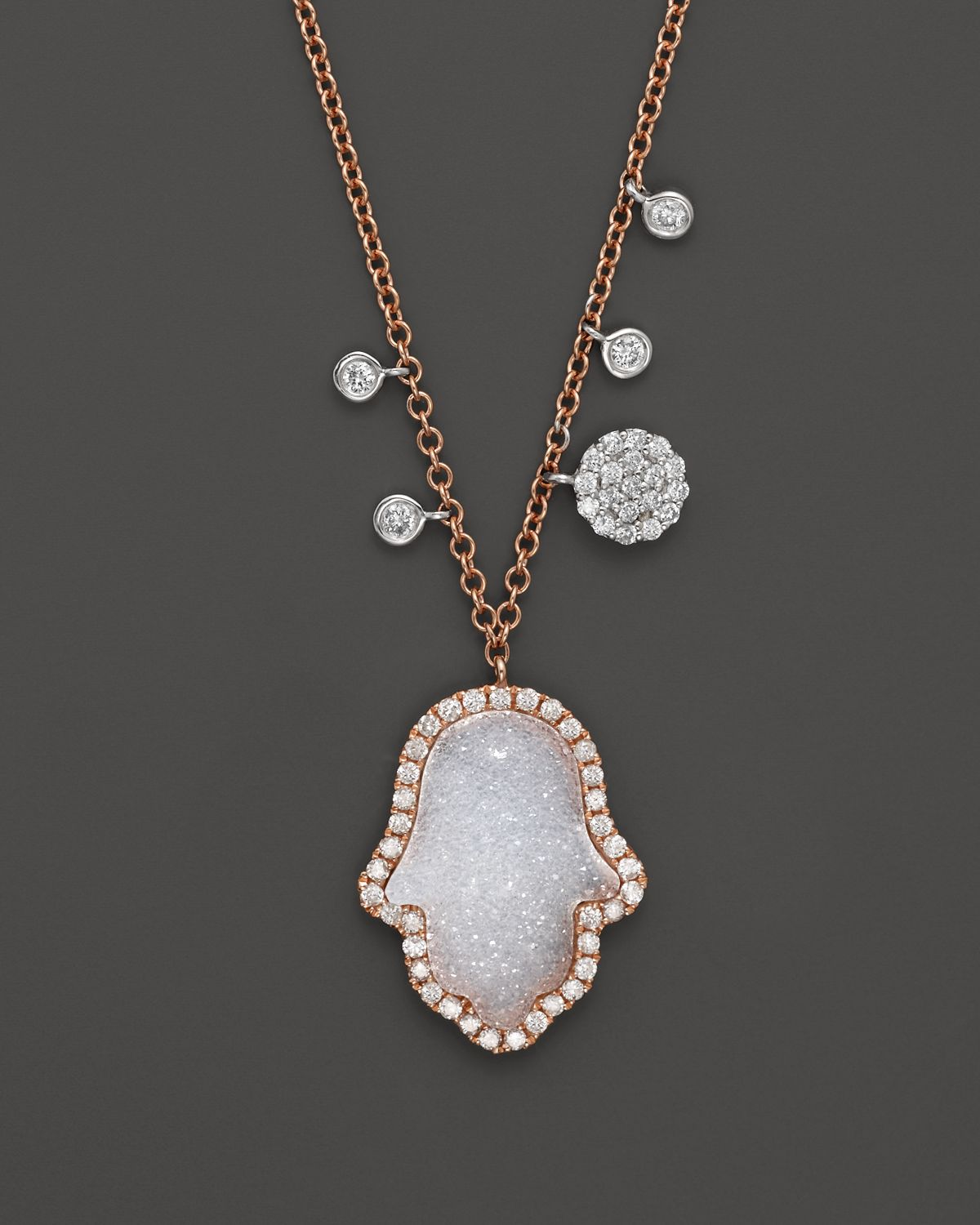Lyst meira t 14k rose gold diamond and druzy hamsa necklace in white gallery mozeypictures
