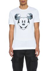 Neil Barrett Tight Crew Neck Mickey Print Tee - Lyst