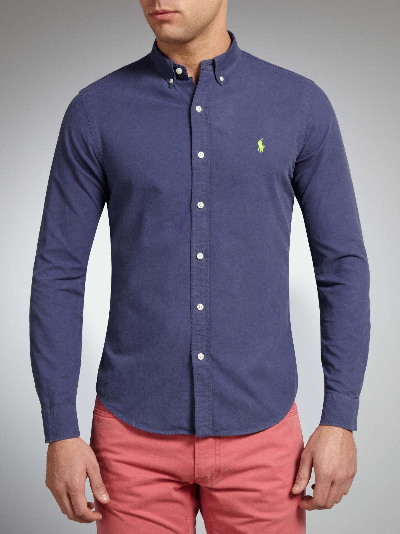 a30163f3c Polo Ralph Lauren Slim Fit Plain Long Sleeve Shirt in Blue for Men ...