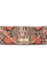 Rebecca Minkoff Sammy Snakeprint Envelope Clutch In Pink - Lyst