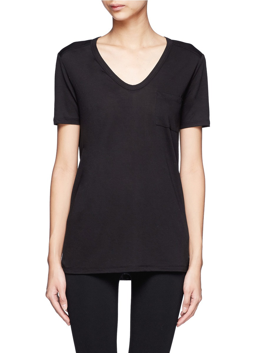 T By Alexander Wang V Neck T Shirt In Black Lyst