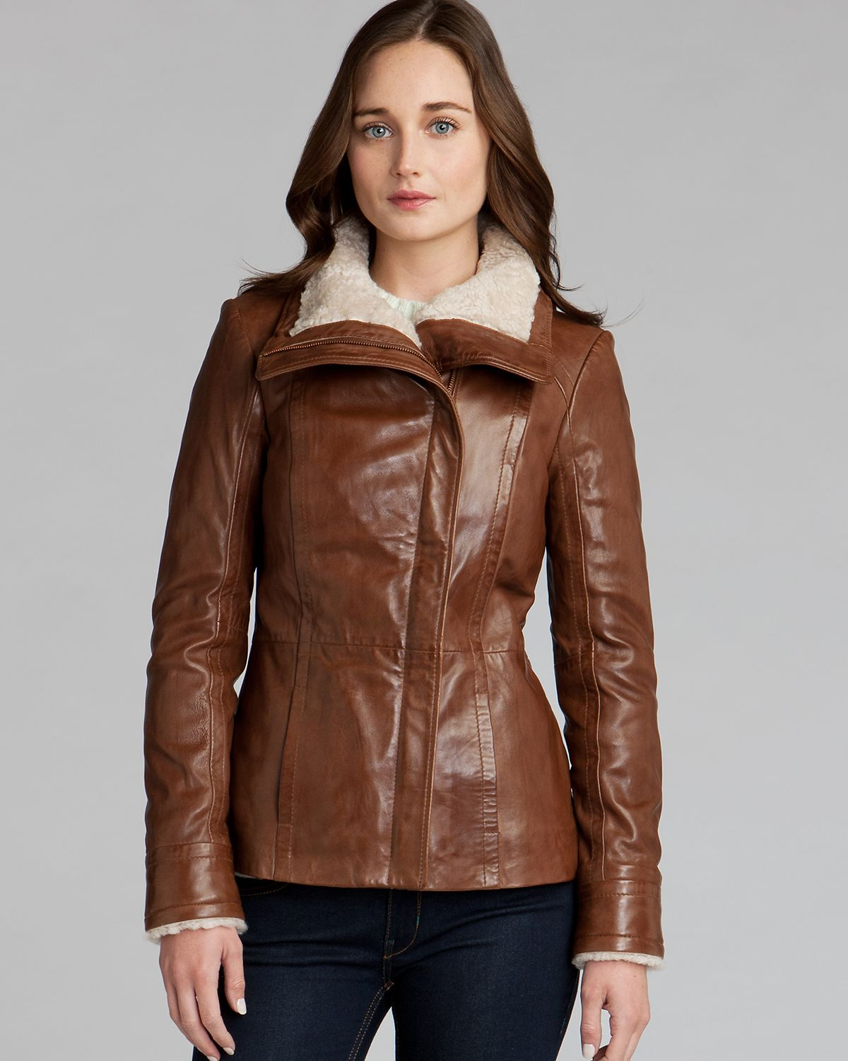 d7c162fd1 Lyst - Ted Baker Leather Jacket Amilia Shearling Collar in Brown