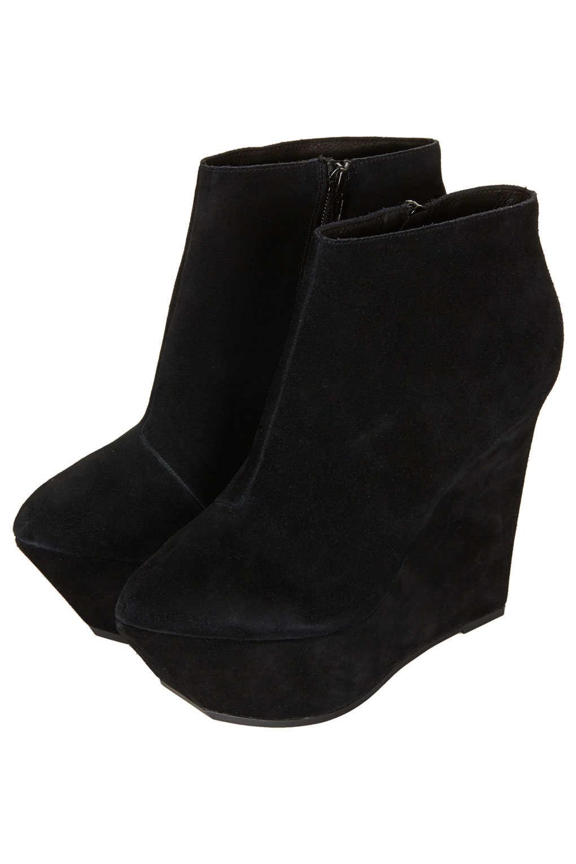 topshop attik platform wedge boots in black lyst