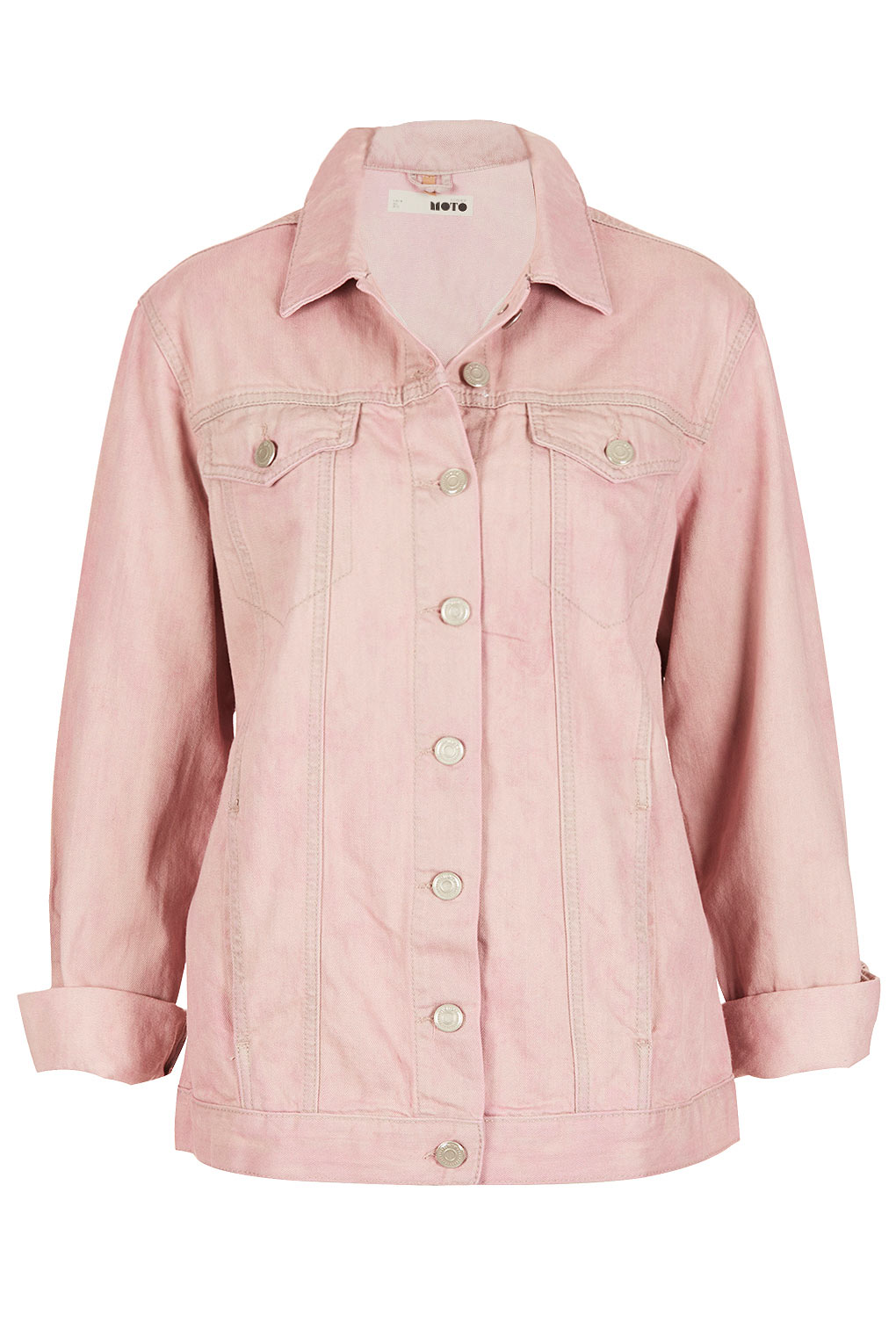 Topshop moto heart flag western jacket in pink lyst for Womens denim shirts topshop