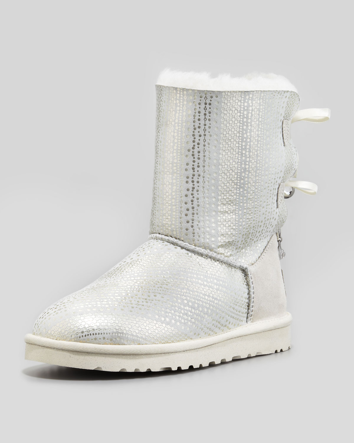 Lyst Ugg Holiday Bailey Bowback Short Boot White In Metallic