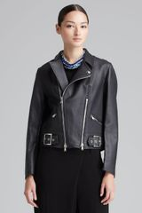 3.1 Phillip Lim Sculpted Leather Motorcycle Jacket Black - Lyst