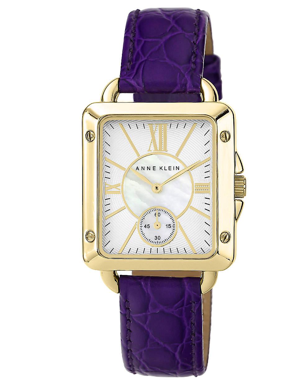 Anne klein watch with genuine leather strap in purple lyst for Anne klein leather strap