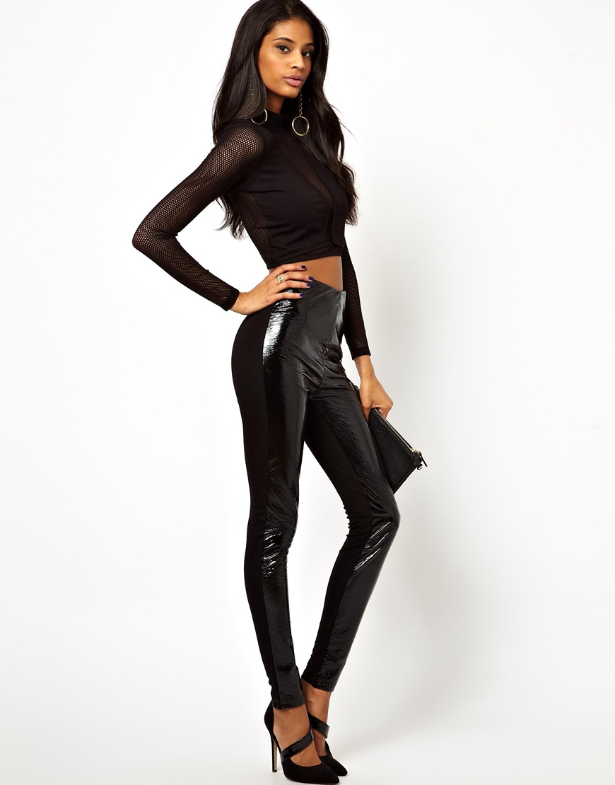Asos Leather Look High Waisted Leggings in Black | Lyst