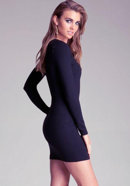Bebe Long Sleeve Bodycon Dress In Blue Lyst