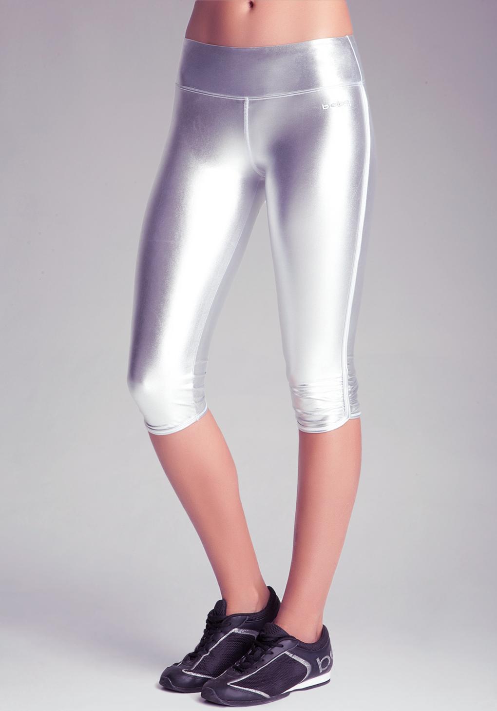 Bebe Metallic Foil Capri Legging In Metallic Lyst