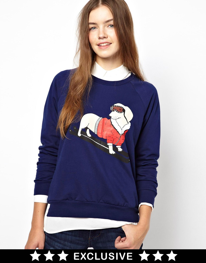 Asos Christmas Jumper with Sausage Dog Print Exclusive To Asos in ...