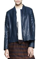 Brunello Cucinelli Leather Swing Biker Jacket - Lyst