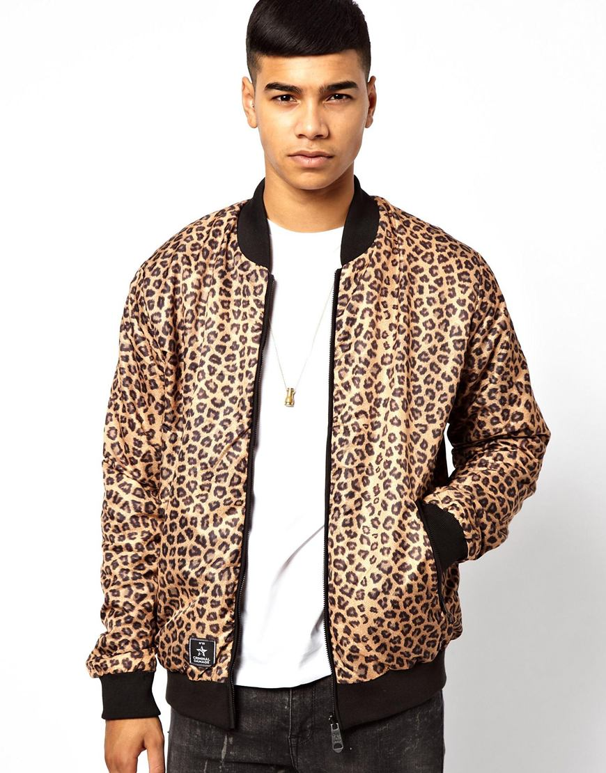 Criminal damage Reversible Bomber in Leopard Print for Men | Lyst