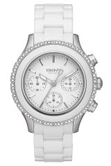 DKNY White Ceramic Stainless Steel Chronograph Watch - Lyst