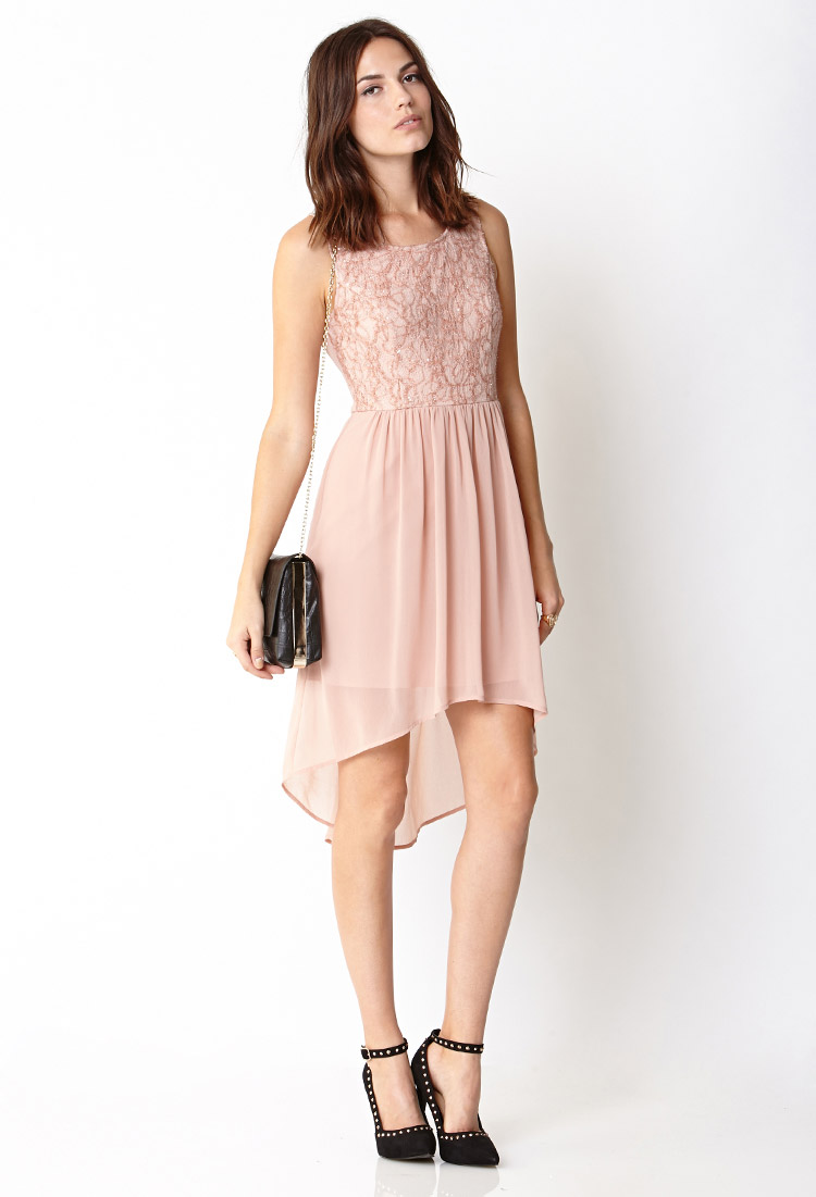 Forever 21 Contemporary Whimsical Lace Dress in Pink