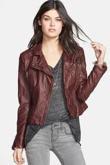 Free People Distressed Faux Leather Moto Jacket - Lyst